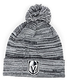 Authentic NHL Headwear Vegas Golden Knights Black White Cuffed Pom Knit Hat