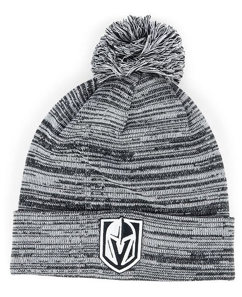 7b7bf86de12 ... Authentic NHL Headwear Vegas Golden Knights Black White Cuffed Pom Knit  Hat ...