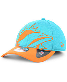 New Era Miami Dolphins Over Sized Laser Cut Logo 39THIRTY Stretch Fitted Cap