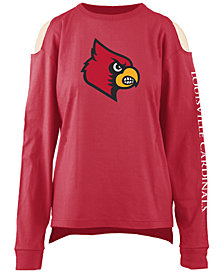 Pressbox Women's Louisville Cardinals Cold Shoulder Long Sleeve T-Shirt