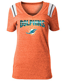 5th & Ocean Women's Miami Dolphins Shoulder Stripe Foil T-Shirt