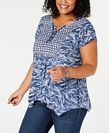 Style & Co Plus Size Printed Handkerchief-Hem Top, Created for Macy's