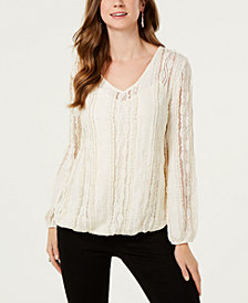 Style & Co Lace Overlay Blouse, Created for Macy's