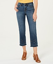 7b096384 Style & Co Grommet-Trimmed Straight-Leg Cropped Jeans, Created for Macy's