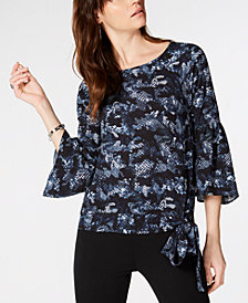 MICHAEL Michael Kors Printed Side-Tie Top, In Regular & Petite Sizes