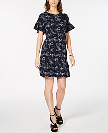 MICHAEL Michael Kors Printed Ruffled Dress, In Regular & Petite Sizes