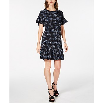 Michael Kors Printed Ruffled Dress