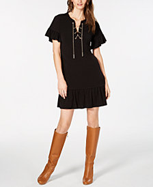 MICHAEL Michael Kors Solid Lace-Up Flounce Dress, in Regular & Petite Sizes
