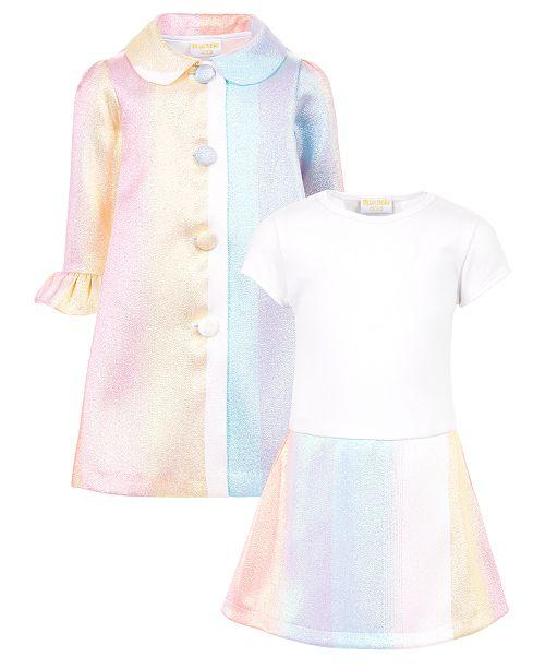 Blueberi Boulevard Toddler Girls Rainbow Coat Dress
