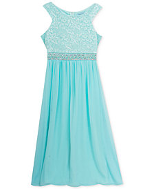 Rare Editions Big Girls Lace-Bodice Shirred Maxi Dress
