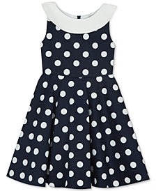 Rare Editions Big Girls Dot-Print A-Line Dress