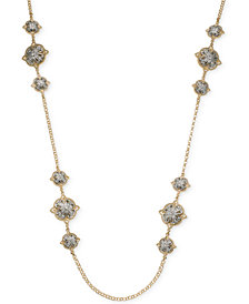 """Charter Club Two-Tone Crystal Cluster Station Necklace, 42"""" + 2"""" extender, Created for Macy's"""