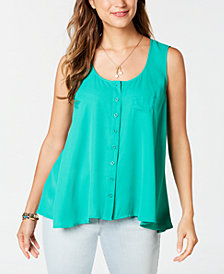 Style & Co Sleeveless High-Low Swing Top, Created for Macy's
