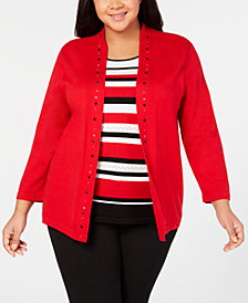 Alfred Dunner Plus Size Grand Boulevard Layered-Look Top