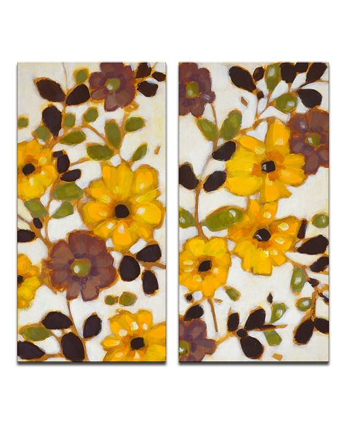 """Ready2HangArt 'Yellow Florals' 2 Piece Canvas Wall Art Set, 24x24"""""""