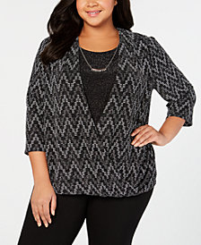 Alfred Dunner Plus Size Shinning Moments Zigzag-Knit Layered Look Top