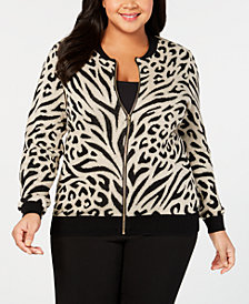Alfred Dunner Plus Size Shinning Moments Animal-Print Knit Jacket