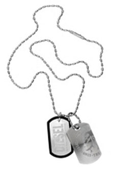 Diesel Men's Double Dog Tag Steel Pendant Necklace