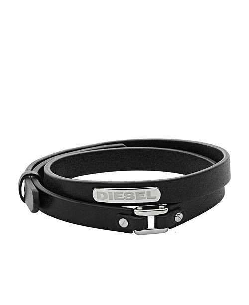 Diesel Men's Stacked Stainless-Steel and Black Leather Bracelet