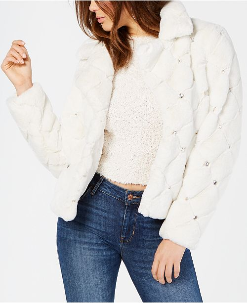 GUESS Queen Embellished Faux-Fur Coat