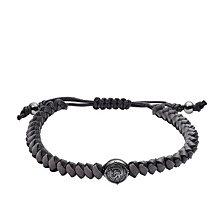 Diesel Men's Stackables Leather and Steel Bracelet