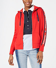 Tommy Hilfiger Logo-Sleeves Zip-Up Hoodie