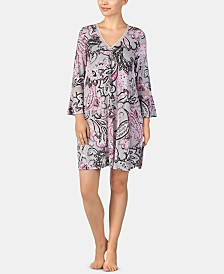 Ellen Tracy Printed Bell-Sleeve Nightgown