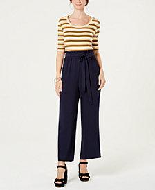 Monteau Petite Striped Tie-Waist Jumpsuit