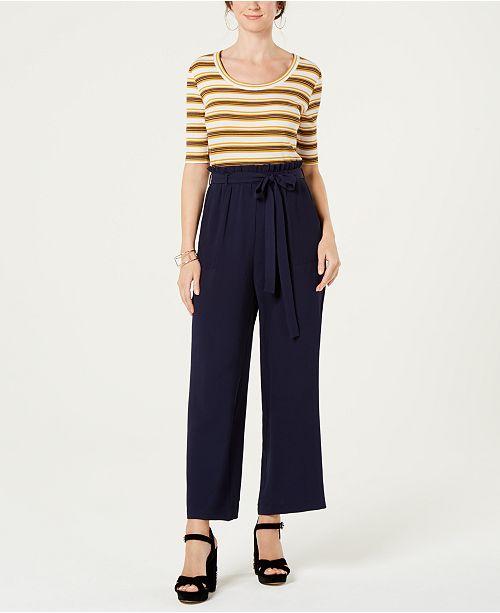 f1c23959833 Monteau Petite Striped Tie-Waist Jumpsuit   Reviews - Pants   Capris ...