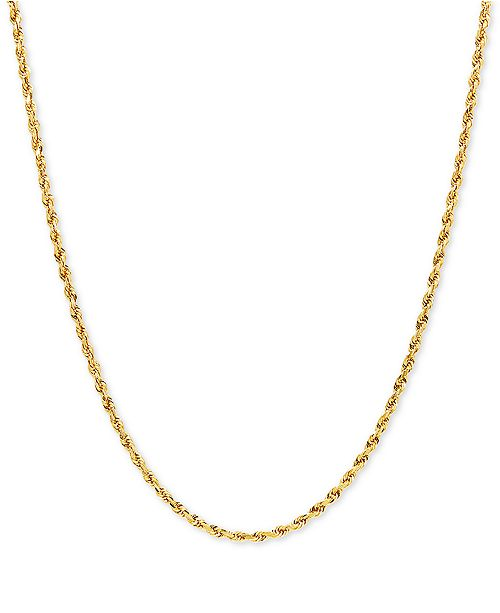 """Macy's Rope Solid 18"""" Chain Necklace in 10k Gold"""