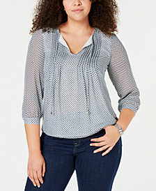 Tommy Hilfiger Plus Size Dot-Print Pintucked Top, Created for Macy's
