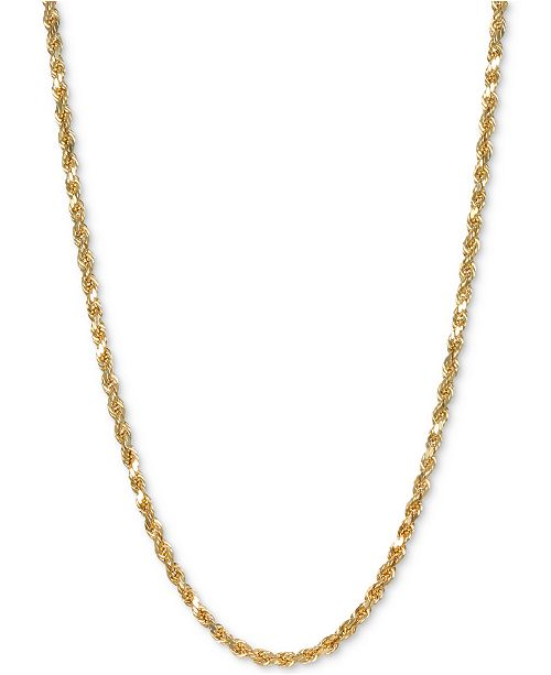 """Italian Gold Forza Rope 20"""" Chain Necklace in 14k Gold"""