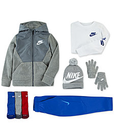 Nike Little Boys Fleece Zip-Up Hoodie, Stickers-Print T-Shirt, Therma GFX Pants, 3-Pk. Dri-FIT Crew Socks & Big Boys 2-Pc. Beanie & Gloves Set