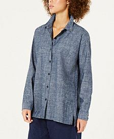 Eileen Fisher Chambray Button-Front Shirt, Regular & Petite