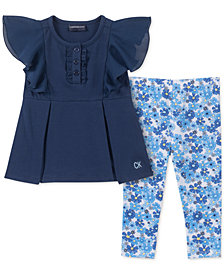 Calvin Klein Baby Girls 2-Pc. Chiffon Tunic & Floral-Print Leggings Set