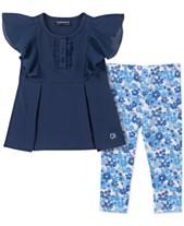 48461c4ba7 Calvin Klein Baby Girls 2-Pc. Chiffon Tunic   Floral-Print Leggings Set