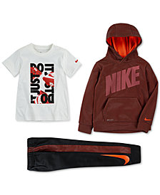 Nike Toddler Boys Therma-FIT Mesh Pullover Hoodie, Graphic-Print T-Shirt & Jogger Pants
