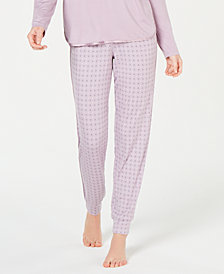 Alfani Satin-Trimmed Printed Jogger Pajama Pants, Created for Macy's