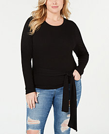 Soprano Trendy Plus Size Tie-Waist Top