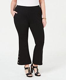 MICHAEL Michael Kors Plus Size Button-Trim Cropped Flare Pants