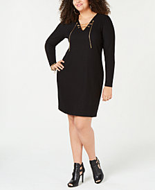 MICHAEL Michael Kors Plus Size Lace-Up Ribbed-Knit Sweater Dress