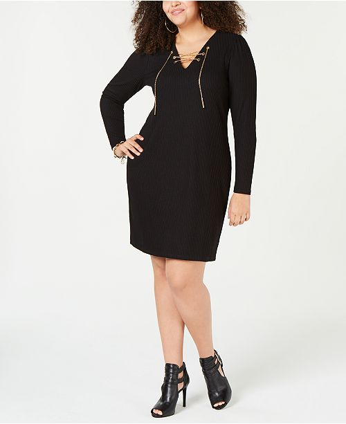 d759ae39a6 Michael Kors Plus Size Lace-Up Ribbed-Knit Sweater Dress   Reviews ...