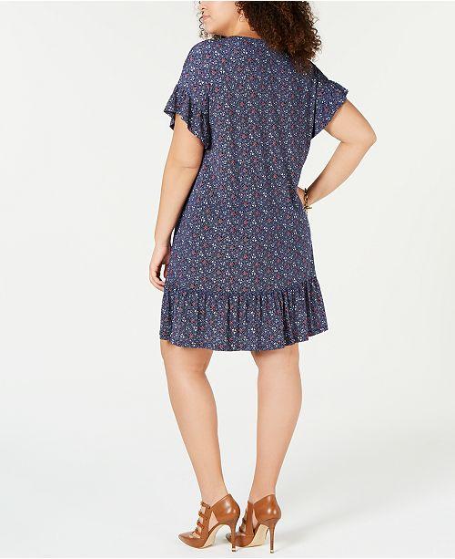 60f07a8bc3c Michael Kors Plus Size Printed Ruffled Shift Dress - Dresses - Plus ...