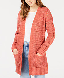 Hippie Rose Juniors' Stitch-Detail Cardigan Sweater