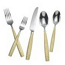 Feather Gold Accent - 5 Piece Place setting