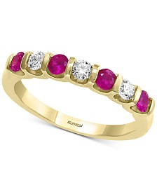 EFFY® Certified Ruby (3/8 ct. t.w.) & Diamond (1/4 ct. t.w.) Band in 14k Gold