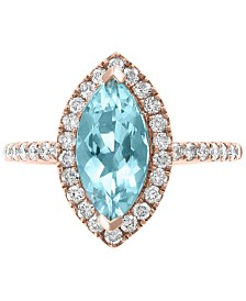 EFFY® Aquamarine (1-1/3 ct. t.w.) & Diamond (3/8 ct. t.w.) Ring in 14k Rose Gold