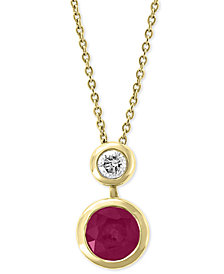 "EFFY® Certified Ruby (1 ct. t.w.) & Diamond (1/8 ct. t.w.) 18"" Pendant Necklace in 14k Gold"