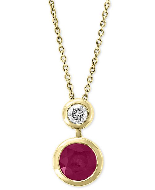"""EFFY Collection EFFY® Certified Ruby (1 ct. t.w.) & Diamond (1/8 ct. t.w.) 18"""" Pendant Necklace in 14k Gold"""