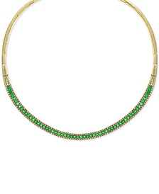 "EFFY® Emerald (8-5/8 ct. t.w.) & Diamond (1-1/5 ct. t.w.) 15-3/4"" Collar Necklace in 14k Gold"